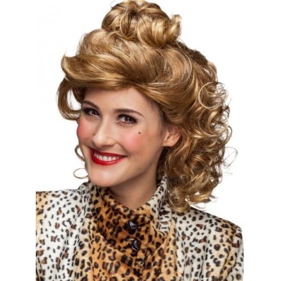Krullenpruik blond halflang voor dames
