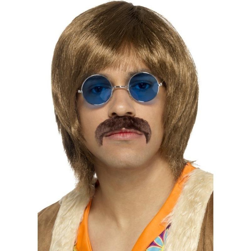 Abba heren verkleed pruik, snor en bril setje voor heren