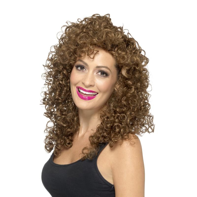 Bruine damespruik lang haar