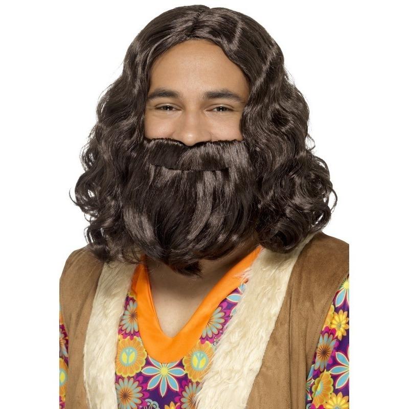Bruine jezus pruik met baard