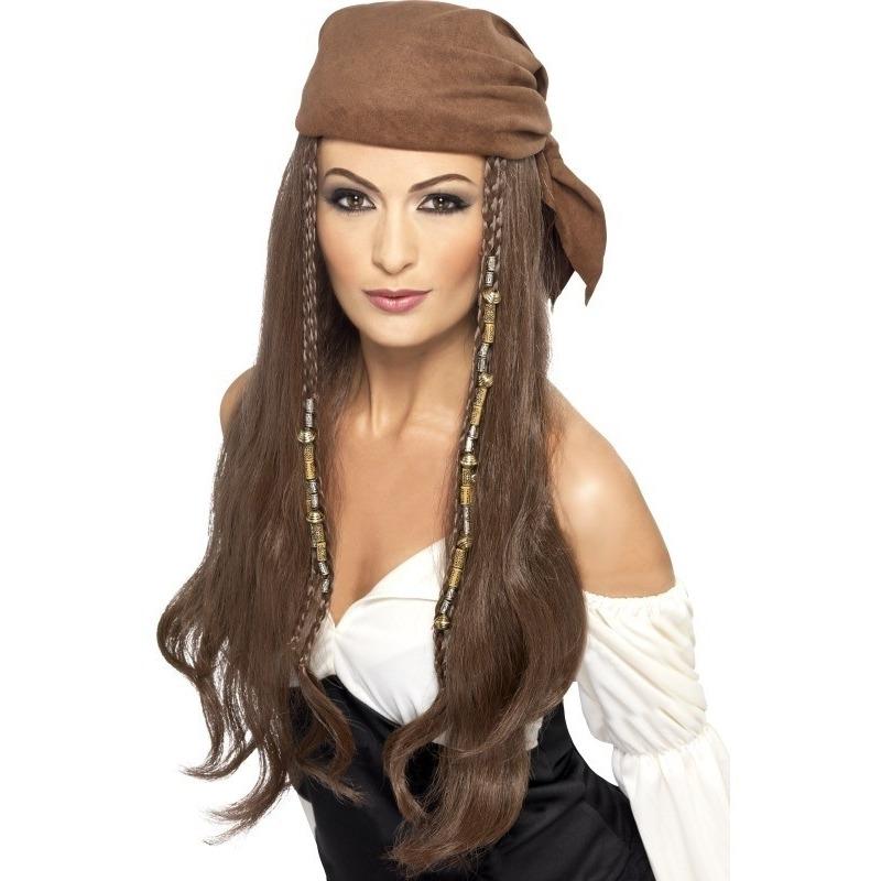 Bruine lange piratenpruik voor dames