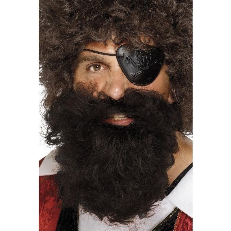 Bruine piraten baard met snor voor heren