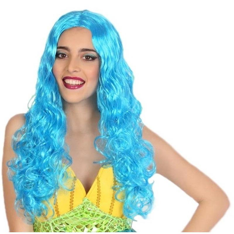 Carnaval dames pruik zeemeermin blauw