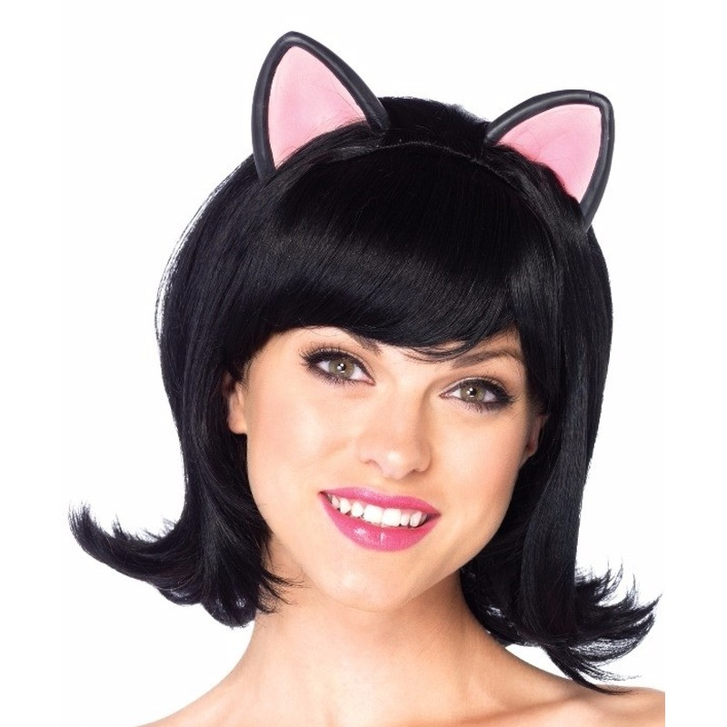 Carnaval zwarte kat/poes damespruik met oortjes