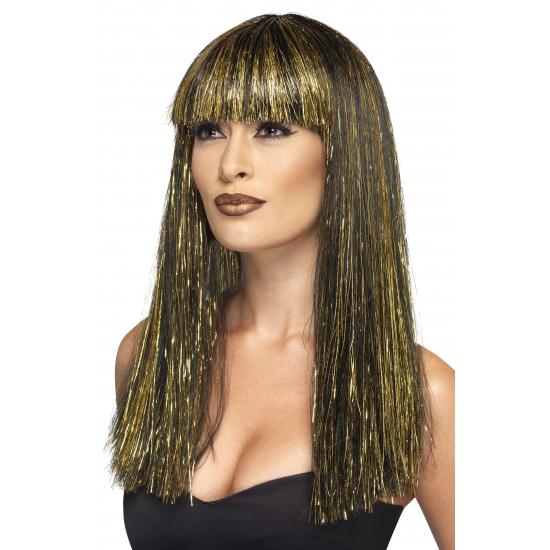 Cleopatra pruik zwart/goud