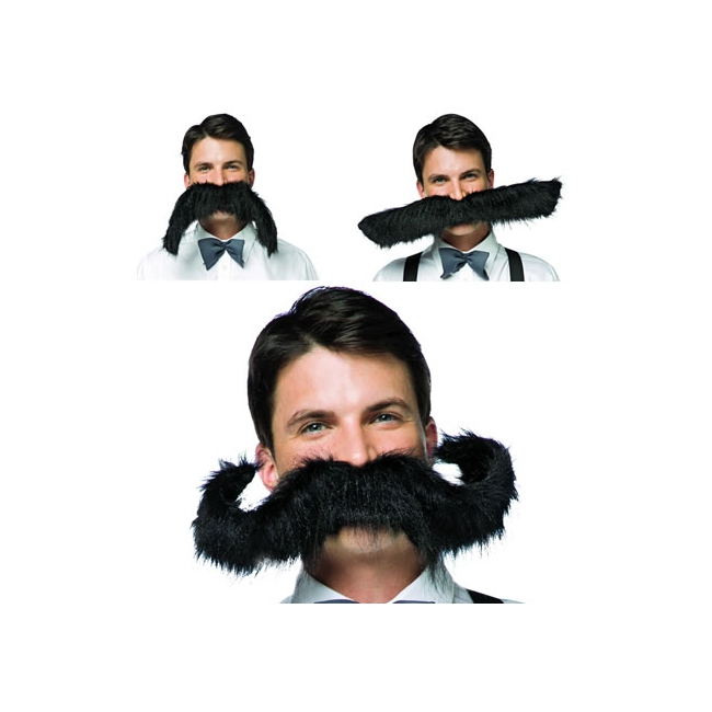 Extra grote zwarte snor verkleed accessoire 50 cm