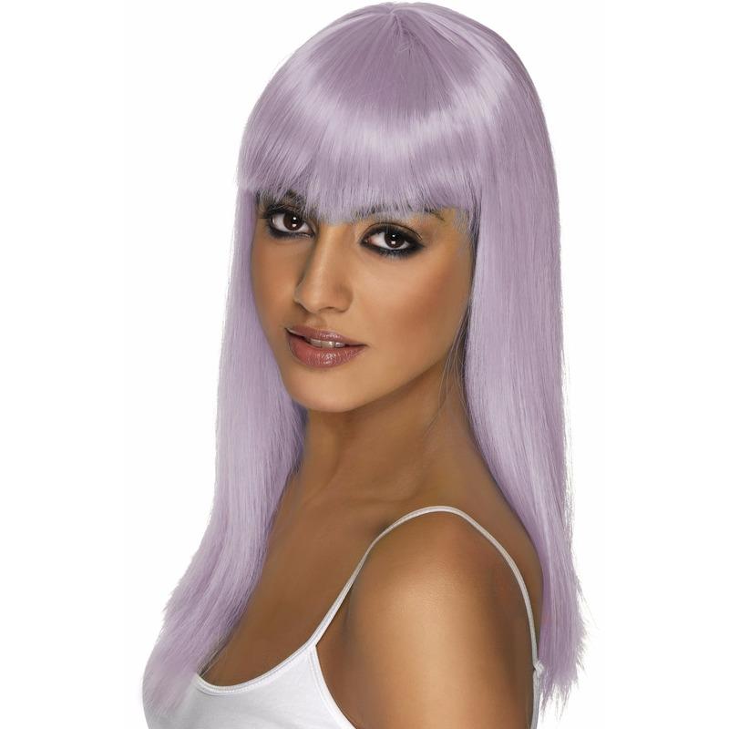 Glamour pruik in het lila voor dames