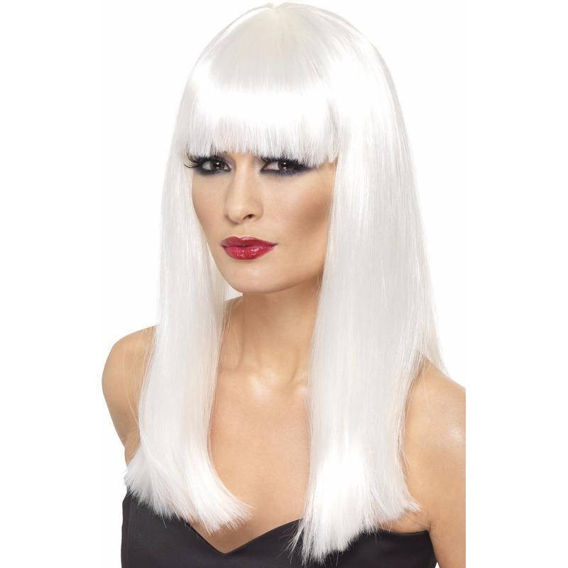 Glamour pruik in het wit voor dames