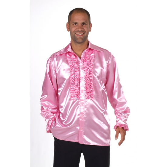 Glimmend roze overhemd met rouches
