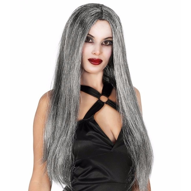 Gothic halloween heksenpruik lang grijs haar