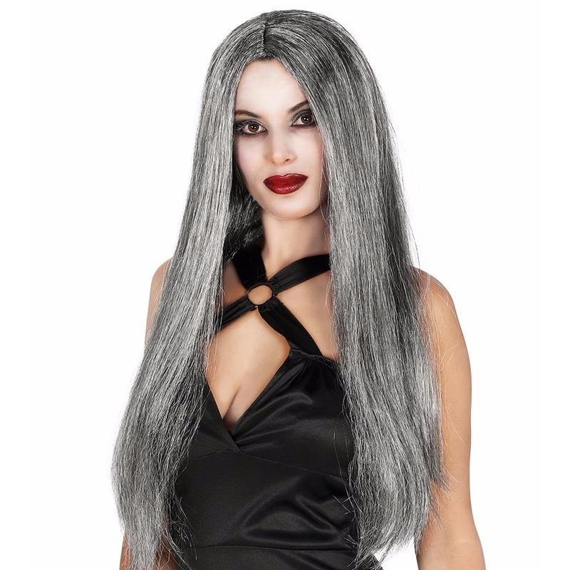 Gothic pruik lang grijs haar