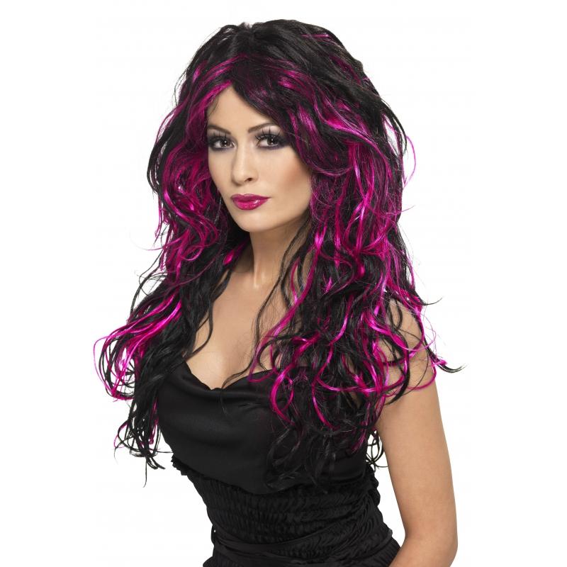 Gothic pruik zwart met roze