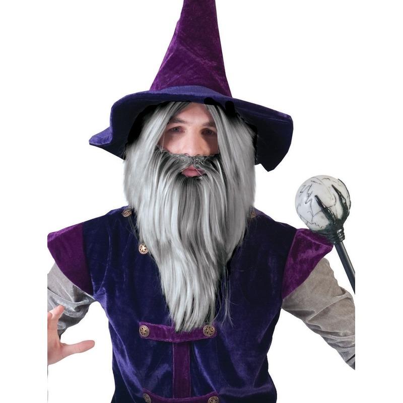 Grijze tovenaars set pruik met baard