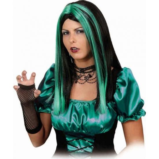 Lang haar pruik zwart/groen