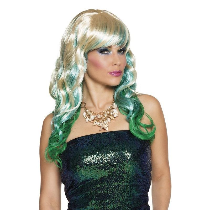 Lange blonde damespruiken met blauw en groen