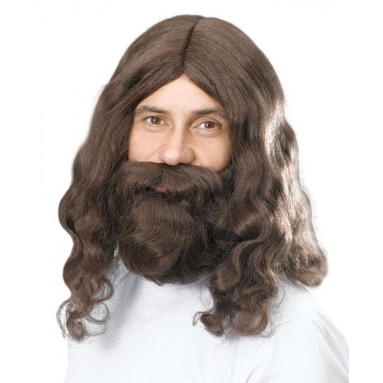 Lange bruine pruik met baard