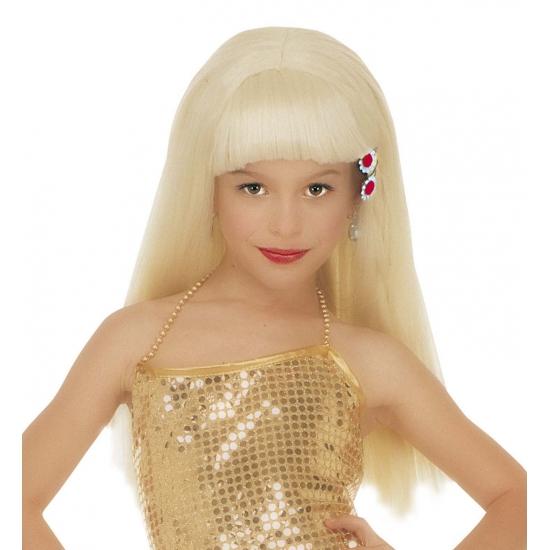 Meisjes pruik lang en blond haar