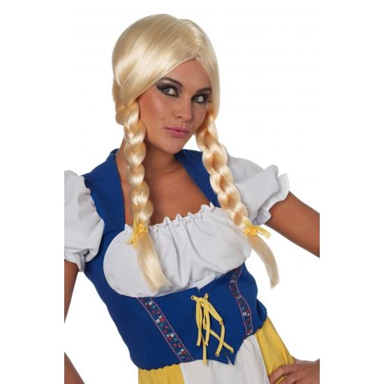 Oktoberfest pruik blond met vlechten