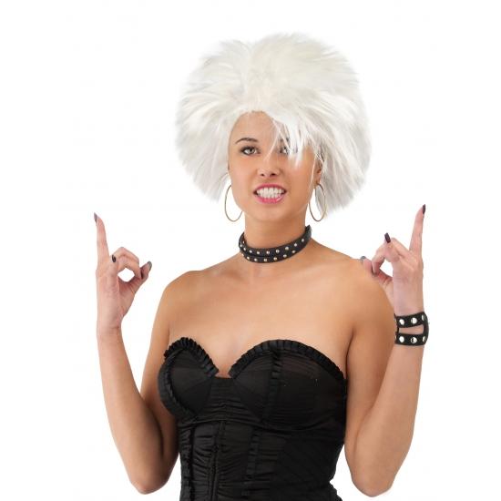 Rocker dames pruik wit