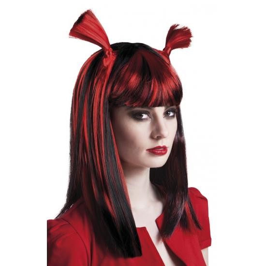 Rood met zwarte vampier pruik