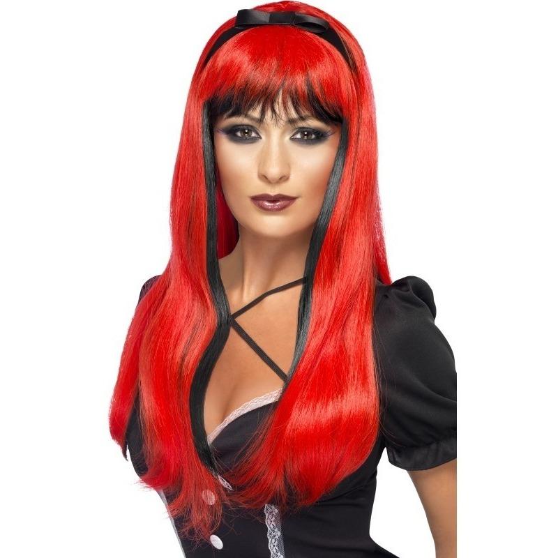 Rood/zwarte heksenpruik met lint voor dames