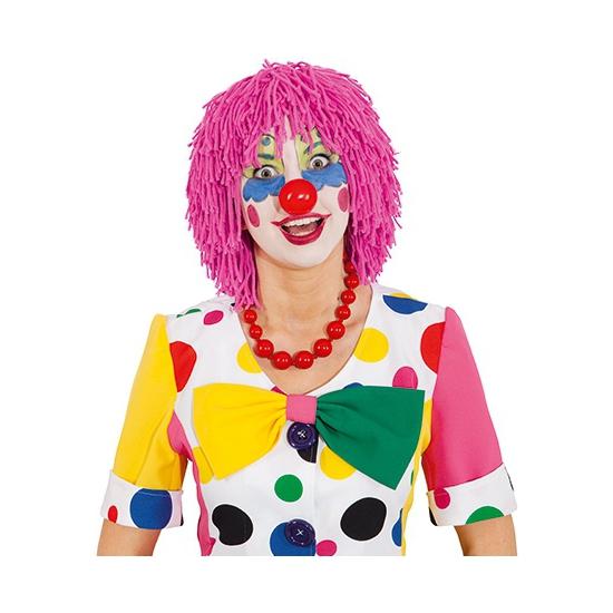 Roze clownspruik van wol