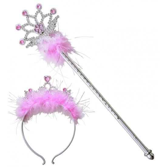 Roze glitter tiara en toverstafje