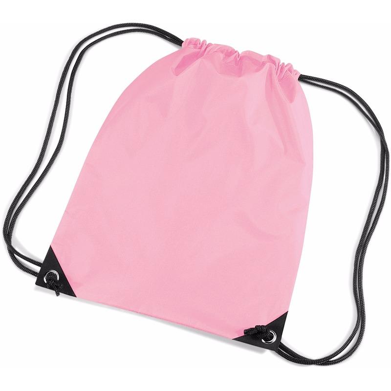 Roze nylon rugtas met trekkoord