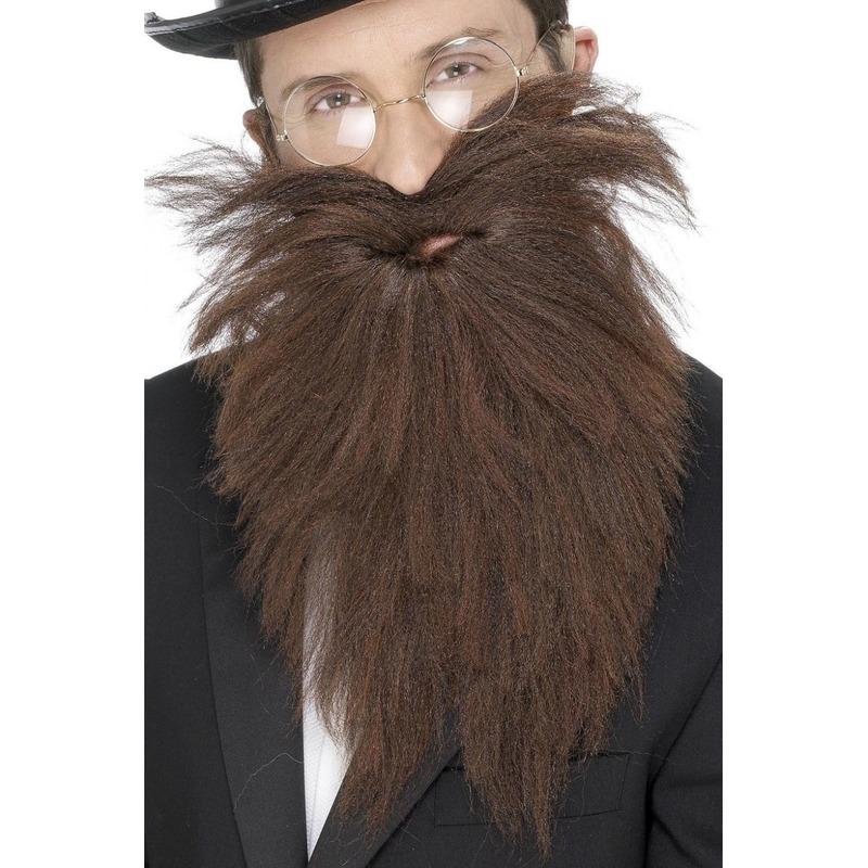 Voordelige lange baard met snor bruin