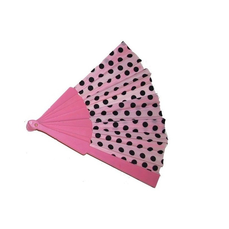 Waaier roze met zwarte stippen