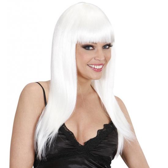 Witte party pruik met stijl haar