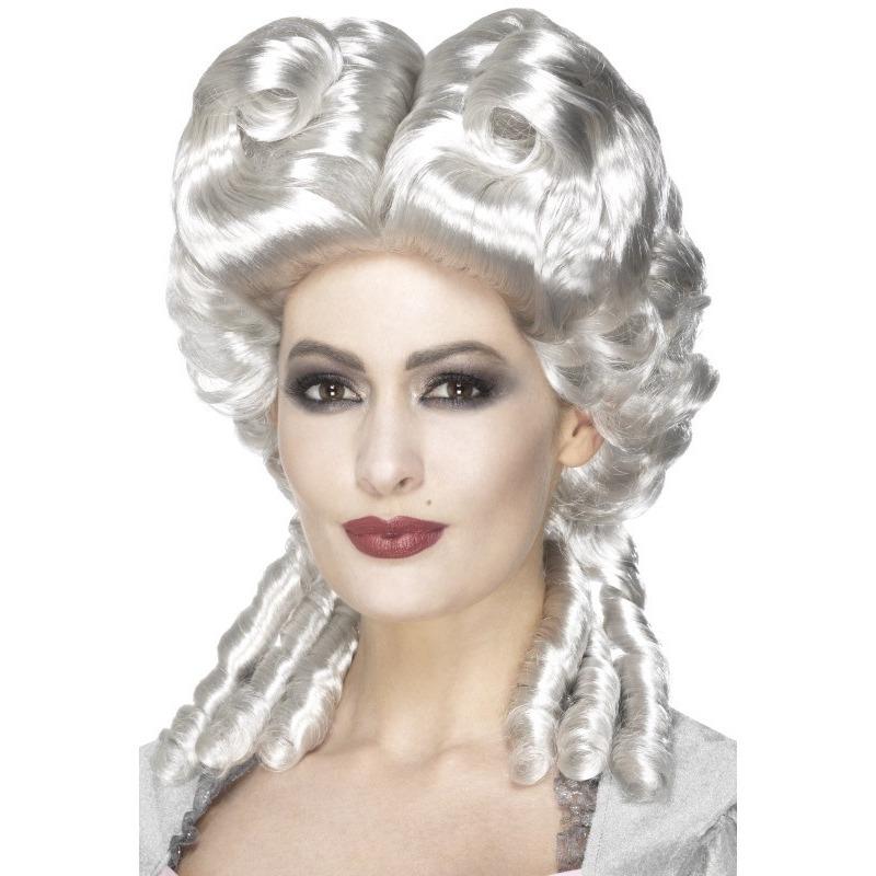 Zilveren rococo Middeleeuwse pruik voor dames