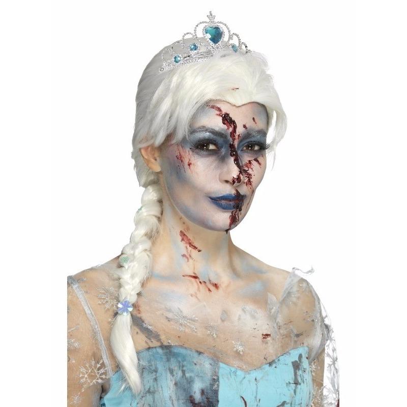 Zombie ijsprinsessen pruik met vlecht