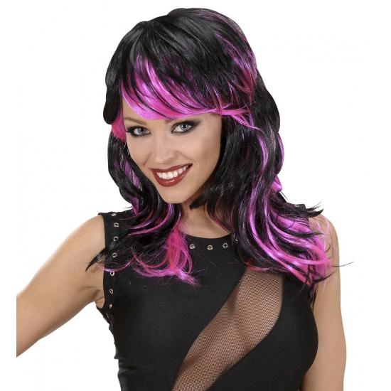 Zwart met roze punk pruik