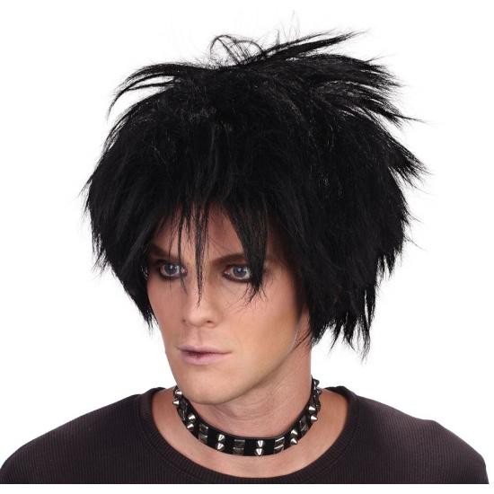 Zwarte rocker pruik met piek haar